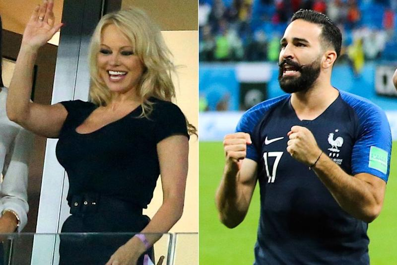 Pamela Anderson at Tuesday's semifinal match, Adil Rami on the field