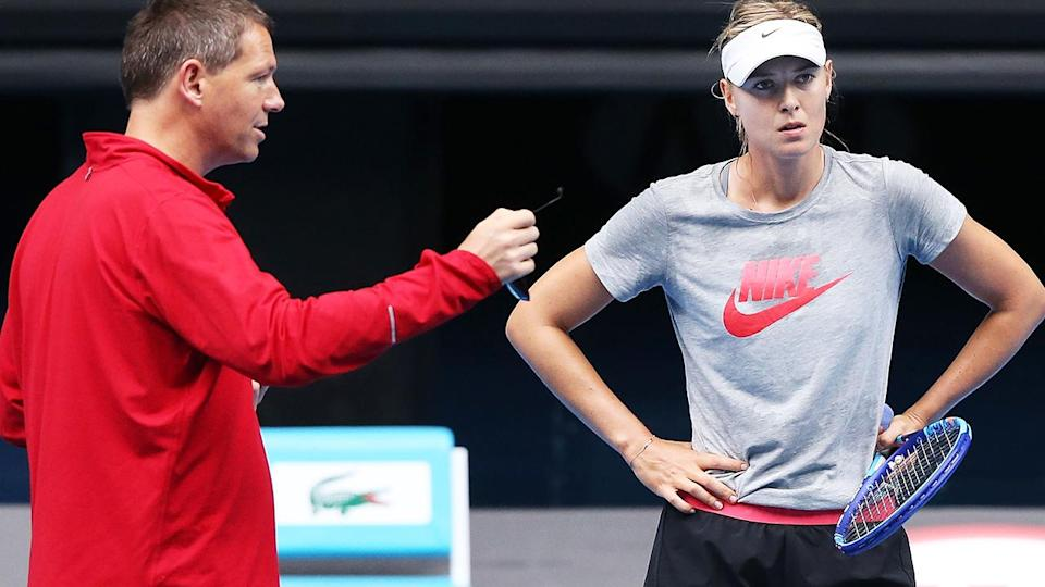 Maria Sharapova and Sven Groeneveld in 2015. (Photo by Michael Dodge/Getty Images)