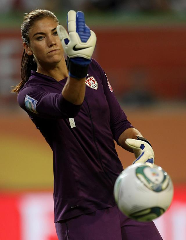 WOLFSBURG, GERMANY - JULY 06: Hope Solo of USA during the FIFA Women's World Cup 2011 Group C match between Sweden and USA at the Arena In Allerpark on July 6, 2011 in Wolfsburg, Germany. (Photo by Scott Heavey/Getty Images)