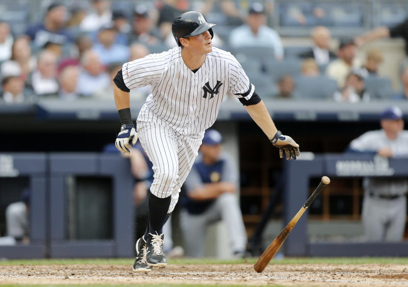 NEW YORK, NEW YORK - JUNE 19: DJ LeMahieu #26 of the New York Yankees in action against the Tampa Bay Rays at Yankee Stadium on June 19, 2019 in New York City. The Yankees defeated the Rays 12-1. (Photo by Jim McIsaac/Getty Images)