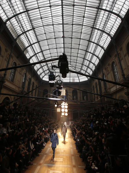 A model wears a creation for Lanvin fall-winter 2013/2014 men's fashion collection, presented in Paris, Sunday, Jan.20, 2013. (AP Photo/Christophe Ena)