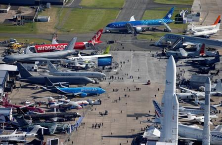 An aerial view shows the 53rd International Paris Air Show at Le Bourget Airport near Paris