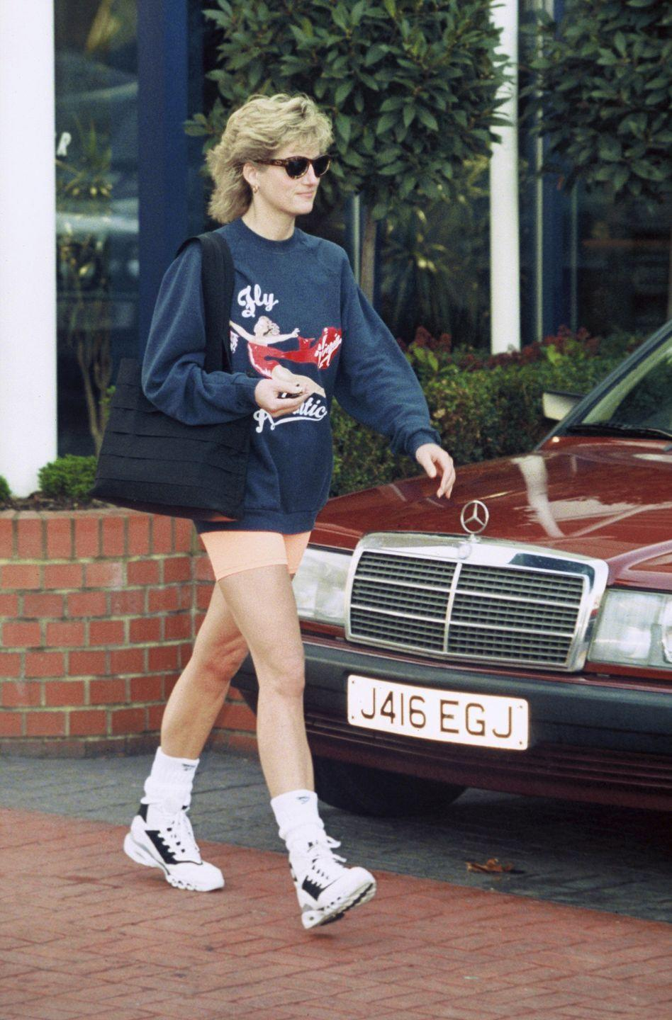 <p>The Princess of Wales, wears a Virgin Atlantic sweatshirt and shorts as she leaves Chelsea Harbour Club in London.</p>
