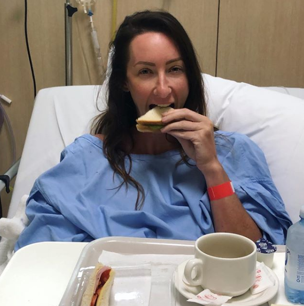 A photo of Googlebox star Isabelle Silbery in hospital following surgery to remove several cancerous polyps removed from her bowel
