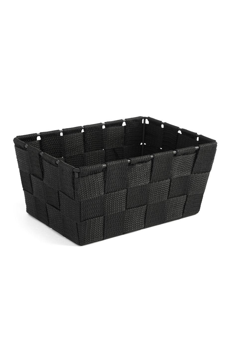 <p>Woven basket in black, price unknown </p>