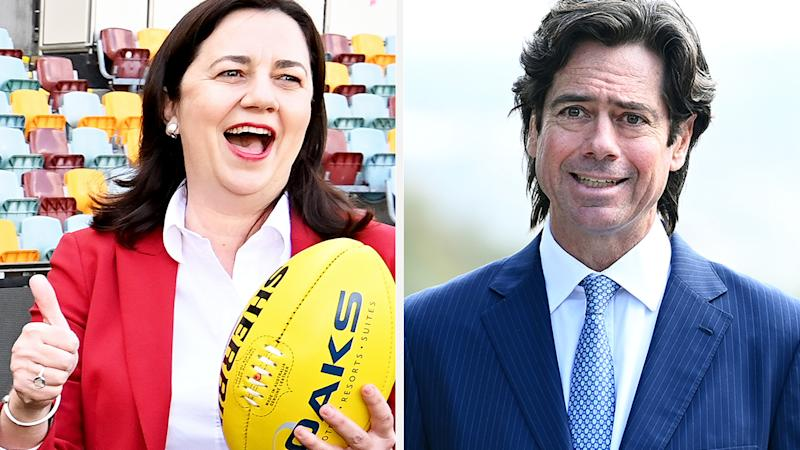 A 50-50 split image shows Queensland premier Annastacia Palaszczuk on the left and AFL boss Gillon McLachlan on the right.
