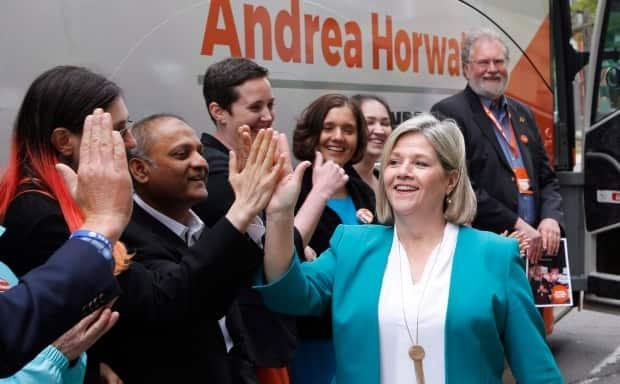 Ontario NDP Leader Andrea Horwath greets local party candidates during a 2018 election campaign stop in Ottawa.