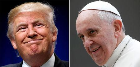 FILE PHOTO A combination of file photos shows Donald Trump speaking at a campaign event in Charlotte, North Carolina, U.S., and Pope Francis looking on during his Wednesday general audience at Saint Peter's Square at the Vatican