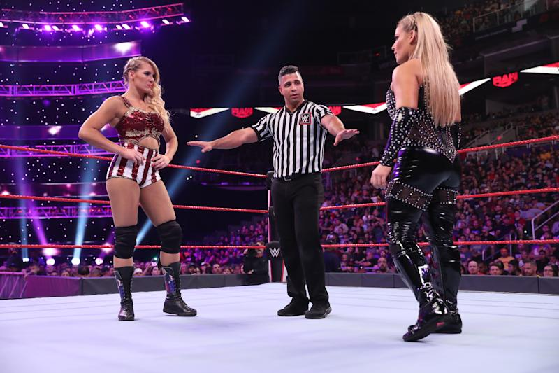Natalya and Lacey Evans perform at a WWE show. (Photo Courtesy of WWE)