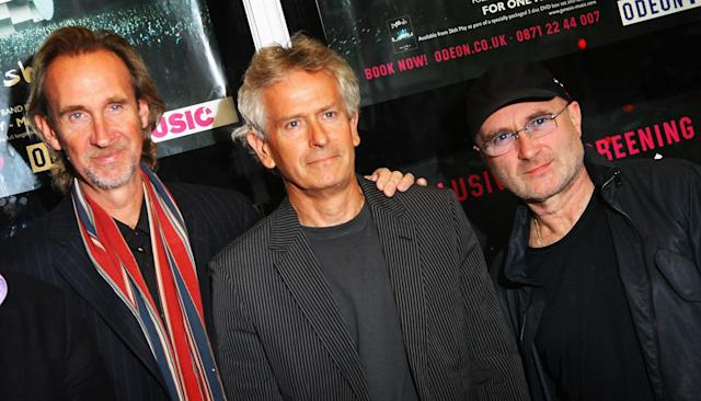 Members of the band Genesis, Mike Rutherford, Tony Banks, and Phil Collins reunite for the DVD Premiere at Kensington Odeon on May 20, 2008 in London, England. (Photo by Chris Jackson/Getty Images)