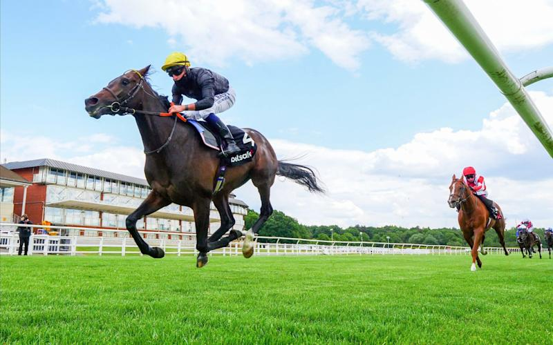 English King ridden by Tom Marquand wins the Betsafe Derby Trial Stakes at Lingfield Racecourse - PA