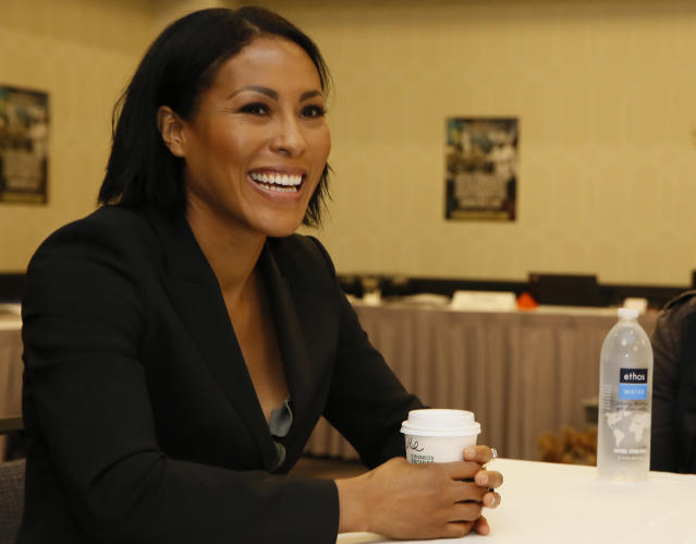 Norwegian female boxing star Cecilia Braekhus smiles as she take questions at a news conference in Los Angeles, Wednesday, May 2, 2018. Braekhus is slated to fight against Kali Reis during the boxing event at StubHub Center in Carson, Calif., on Saturday, May, 5. (AP Photo/Damian Dovarganes)