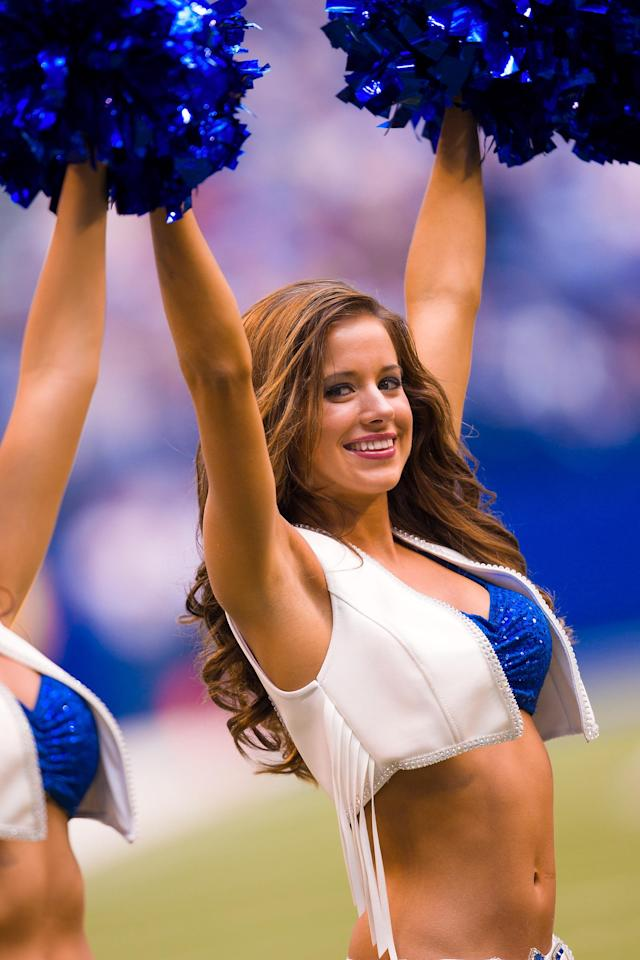 INDIANAPOLIS, IN - SEPTEMBER 23: An Indianapolis Colts cheerleader cheers on the sidelines against the Jacksonville Jaguars at Lucas Oil Stadium on September 23, 2012 in Indianapolis, Indiana. (Photo by Michael Hickey/Getty Images)