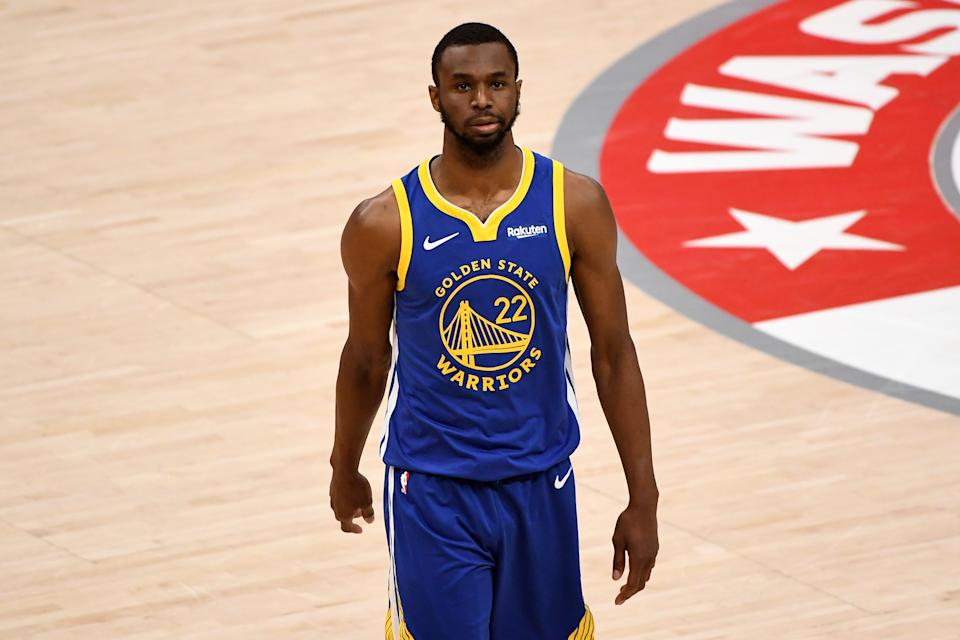 WASHINGTON, DC - APRIL 21: Andrew Wiggins #22 of the Golden State Warriors looks on against the Washington Wizards during the second half at Capital One Arena on April 21, 2021 in Washington, DC. NOTE TO USER: User expressly acknowledges and agrees that, by downloading and or using this photograph, User is consenting to the terms and conditions of the Getty Images License Agreement. (Photo by Will Newton/Getty Images)