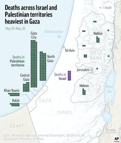 The map shows the majority of the deaths have happened in Gaza City.