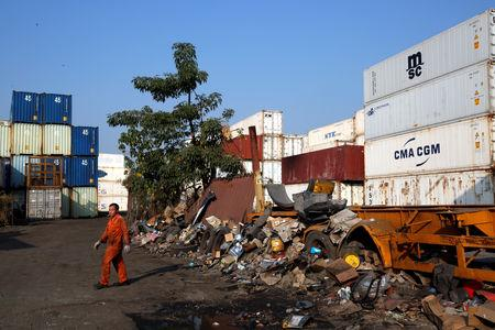 A plot of rural land in Hong Kong's New Territories hinterland, owned by a developer and being used as a container and scrapyard are is in Hong Kong