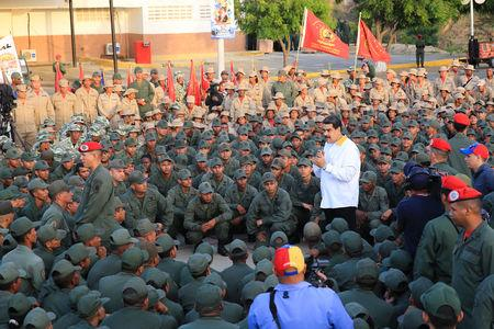 Venezuela's President Nicolas Maduro takes part in a ceremony at a Navy base in Catia La Mar, Venezuela May 14, 2019. Miraflores Palace/Handout via REUTERS