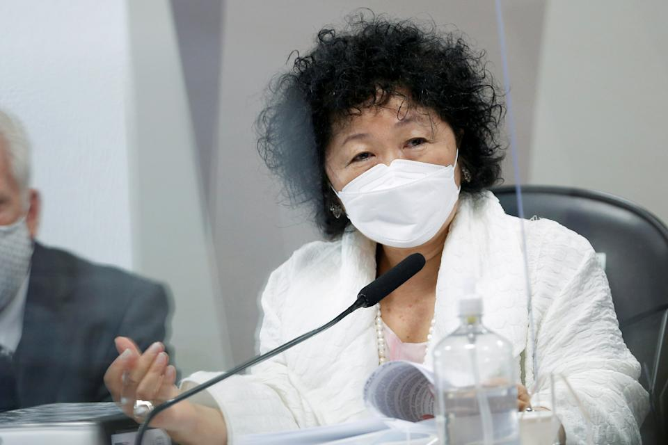 Doctor Nise Yamaguchi speaks during a meeting of the Parliamentary Inquiry Committee (CPI) to investigate government actions and management during the coronavirus disease (COVID-19) pandemic, at the Federal Senate in Brasilia, Brazil June 1, 2021. REUTERS/Adriano Machado