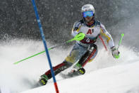 Norway's Sebastian Foss Solevaag speeds down the course during an alpine ski, men's World Cup slalom, in Schladming, Austria, Tuesday, Jan. 26, 2021. (AP Photo/Giovanni Auletta)