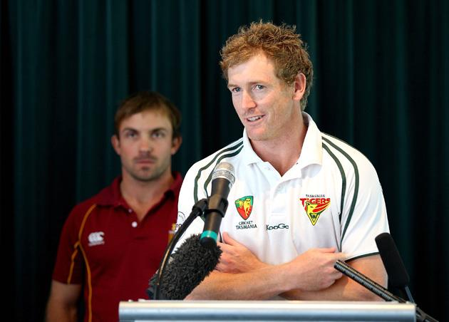 Captain of Tasmanian Tigers George Bailey speaks during the State Cricket Awards at Blundstone Arena on March 20, 2013 in Hobart, Australia.  (Photo by Robert Prezioso/Getty Images)