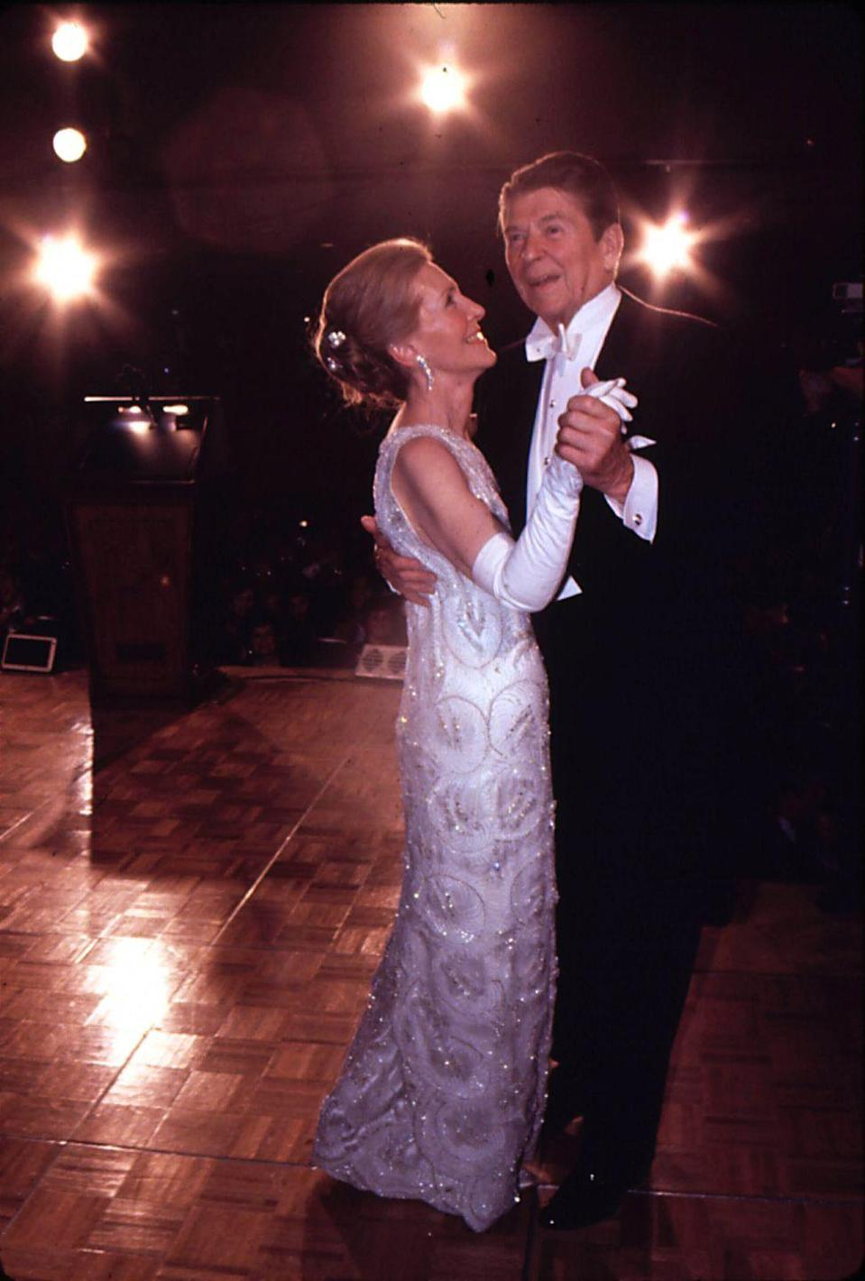 <p>Newly elected President Ronald Reagan danced with First Lady Nancy at the Inaugural Ball in Washington, D.C. </p>