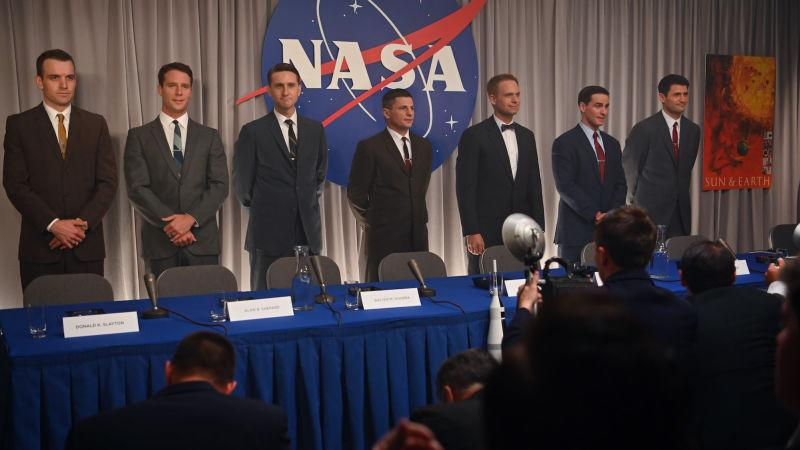 Micah Stock, Jake McDorman, Aaron Staton, Michael Trotter, Patrick J. Adams, Colin O'Donoghue, and James Lafferty in The Right Stuff