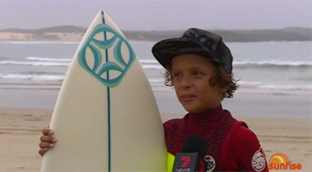 Eden said he was lucky he didn't fall off his board onto the monster. Picture: Sunrise