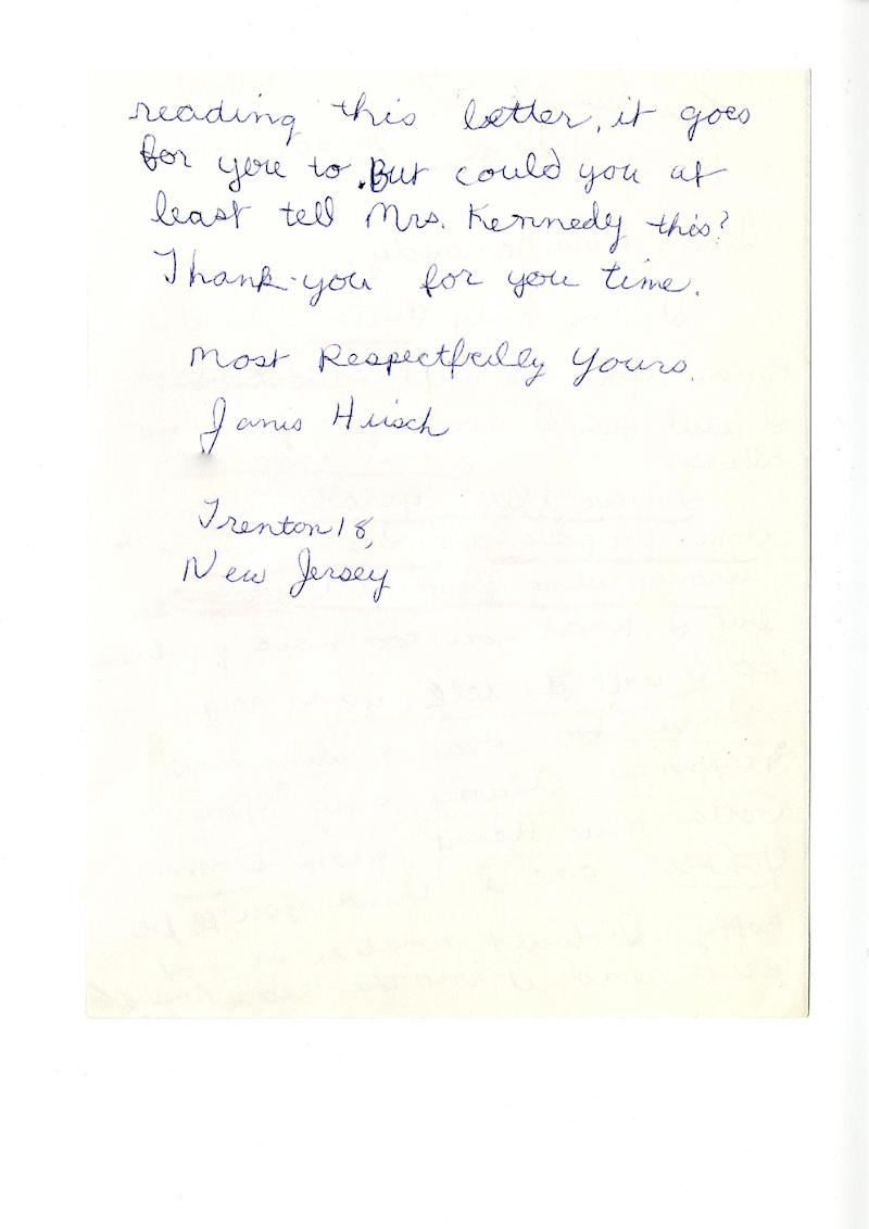 """This photo provided by TLC shows the second page of Janis Hirsch's letter to Mrs. Kennedy from the JFK Library. Hirsch's note, among some 800,000 sent to Mrs. Kennedy in the two months after President John F. Kennedy's Nov. 22, 1963, killing in Dallas, is featured along with about 20 others in """"Letters to Jackie: Remembering President Kennedy,"""" airing 9 p.m. EST Sunday, Nov. 17, 2013, on TLC. (AP Photo/Courtesy TLC)"""