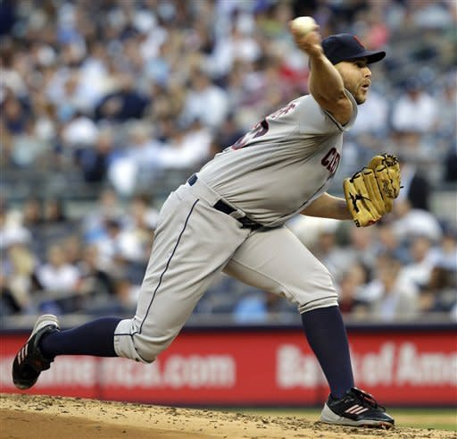 Cleveland Indians starting pitcher Justin Masterson delivers in the second inning against the New York Yankees during their baseball game at Yankee Stadium in New York, Tuesday, June 26, 2012. (AP Photo/Kathy Willens)