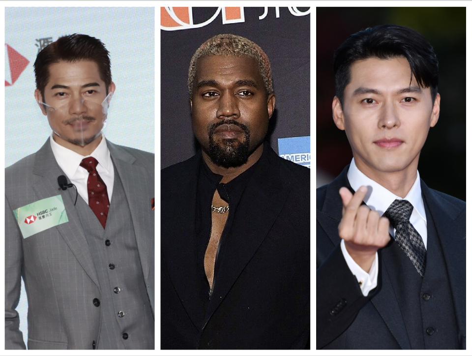 Aaron Kwok, Kanye West and Hyun Bin. (PHOTO: Getty Images)