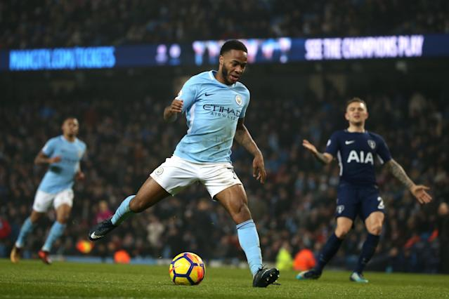 "<a class=""link rapid-noclick-resp"" href=""/soccer/players/raheem-sterling/"" data-ylk=""slk:Raheem Sterling"">Raheem Sterling</a> scored two goals in <a class=""link rapid-noclick-resp"" href=""/soccer/teams/manchester-city/"" data-ylk=""slk:Manchester City"">Manchester City</a>'s 4-1 win over Tottenham, hours after he was allegedly abused and assaulted. (Getty)"