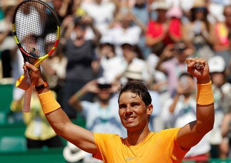 Tennis - ATP - Monte Carlo Masters - Monte-Carlo Country Club, Monte Carlo, Monaco - April 20, 2018 Spain's Rafael Nadal celebrates winning his quarter final match against Austria's Dominic Thiem REUTERS/Eric Gaillard