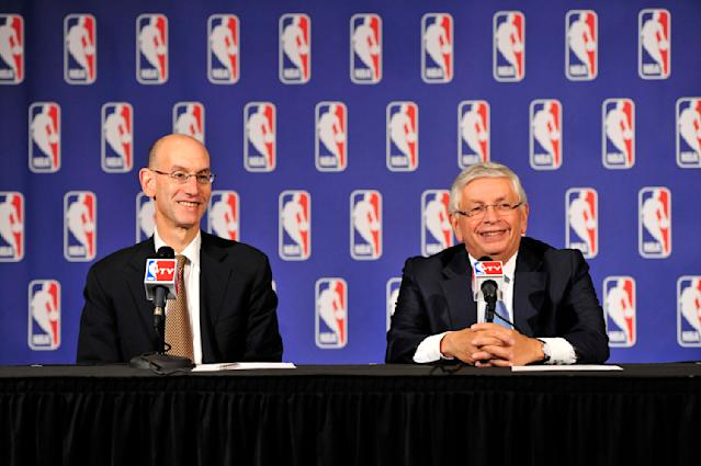 NEW YORK, NEW YORK - OCTOBER 23: Deputy NBA Commissioner Adam Silver and NBA Commissioner David Stern addresses the media after the Board of Governors meetings during a press conference on October 23, 2013 at the St. Regis Hotel in New York City. (Photo by David Dow/NBAE via Getty Images)