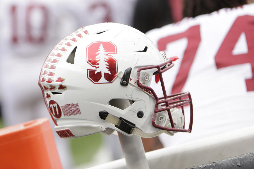 A Stanford helmet is photographed during the second half of an NCAA college football game between Washington State and Stanford in Pullman, Wash., Saturday, Nov. 4, 2017. (AP Photo/Young Kwak)