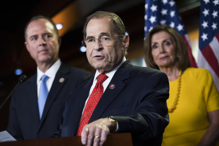 From left: House Intelligence Committee Chairman Adam Schiff, Judiciary Committee Chairman Jerry Nadler and Speaker Nancy Pelosi at a news conference in July. (Photo: Tom Williams/CQ Roll Call via Getty Images)