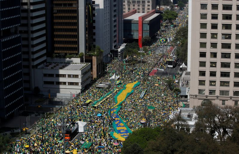 FILE PHOTO: President Bolsonaro supporters march in support of his attacks on the country's Supreme Court, in Sao Paulo