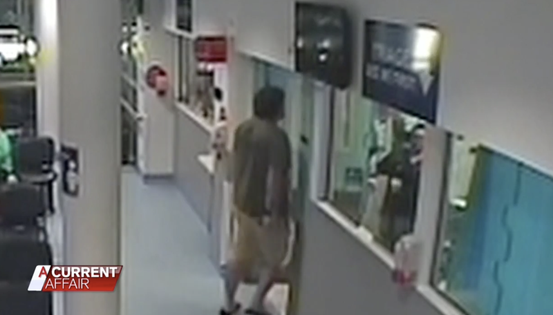 The man then approaches a staff member before cornering her in an office. Source: ACA