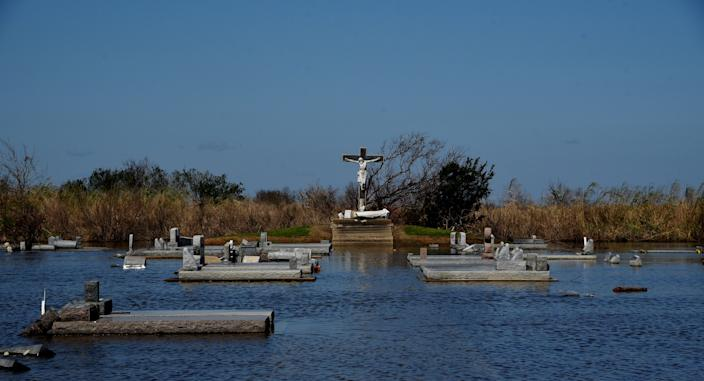 The cemetery at Our Lady Star of the Sea Catholic Church in Cameron, Louisiana, is flooded on Saturday, Oct. 10, 2020, following Hurricane Delta moved through the area.