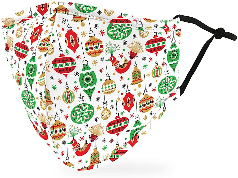 Weddingstar Adult Holiday Washable Cloth Face Mask in Retro Ornaments.