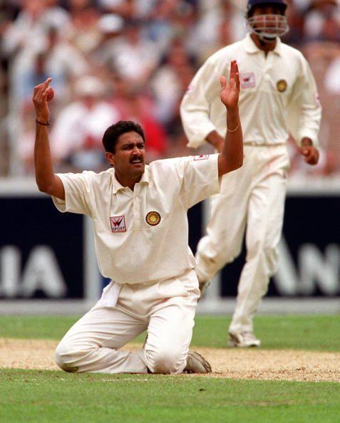 Anil Kumble appealing for a wicket