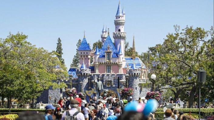 """ANAHEIM, CA--MAY 29, 2019--Sleeping Beauty Castle, at the end of Main Street, in Disneyland Resort, on media preview day of the new """"Star Wars: Galaxy?s Edge,"""" in Anaheim, CA, May 29, 2019. Members of the media roam the new territory, positioned beyond """"Frontierland,"""" at the back of the property. (Jay L. Clendenin / Los Angeles Times)"""