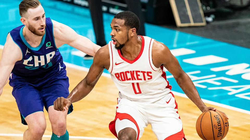 Sterling Brown can be seen here playing for the Houston Rockets.