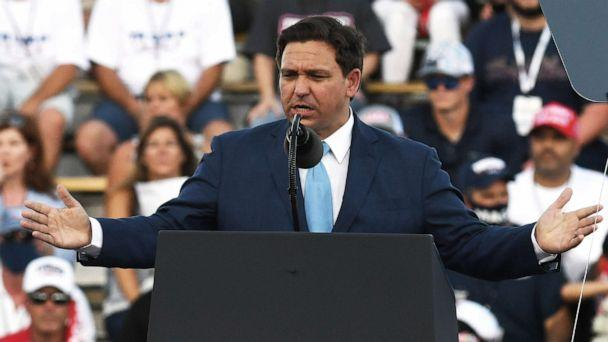 PHOTO: Florida Gov. Ron DeSantis addresses the crowd before President Donald Trump speaks to supporters at a Great American Comeback campaign rally at Cecil Airport in Jacksonville, Fla., Sept. 24, 2020. (Paul Hennessy/SOPA Images/REX via Shutterstock)