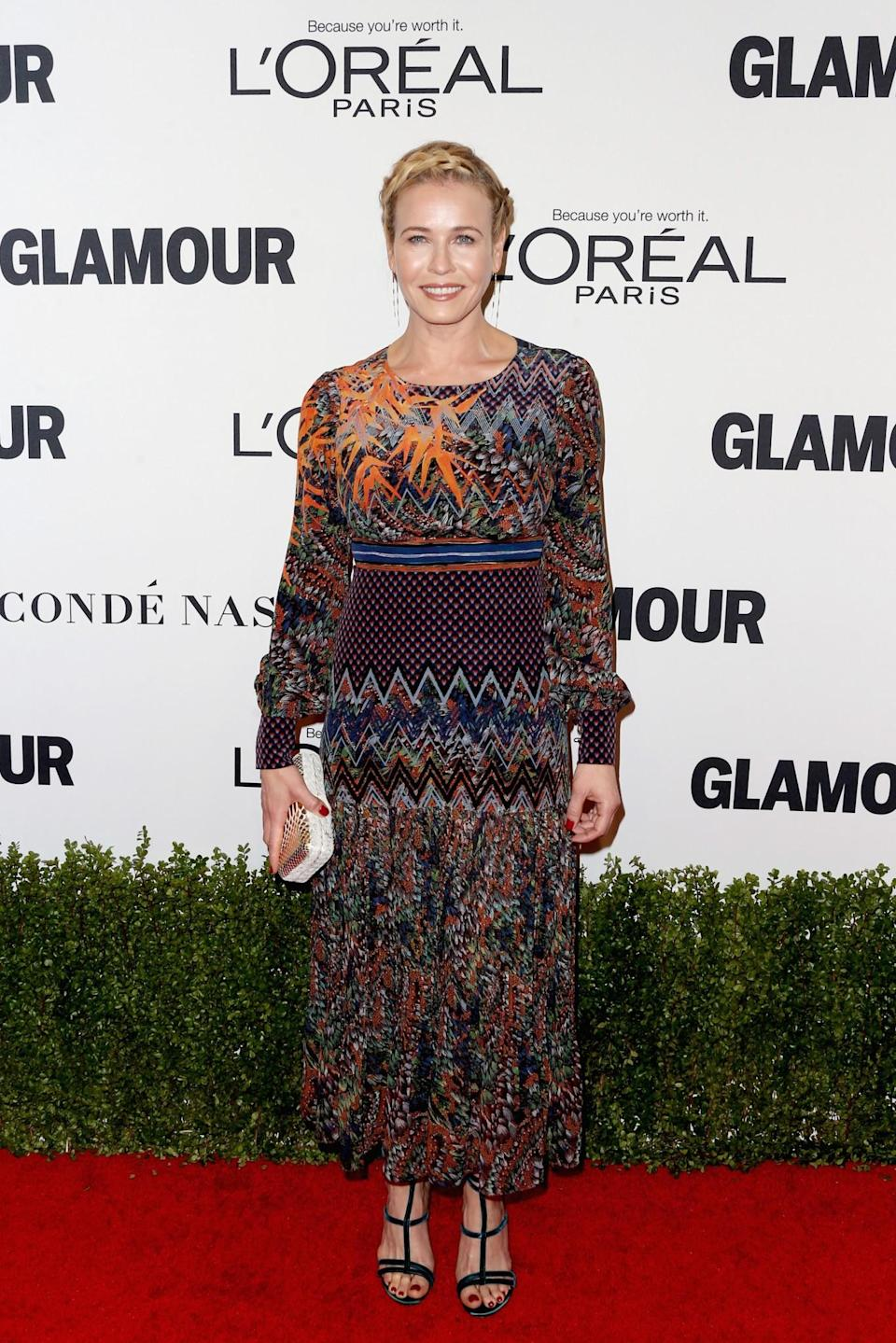 <p>Chelsea's multi-printed dress was a bit too much for the eyes to take in with her nice braided do providing somewhat of a milkmaid vibe. <i>[Photo: Getty]</i> </p>