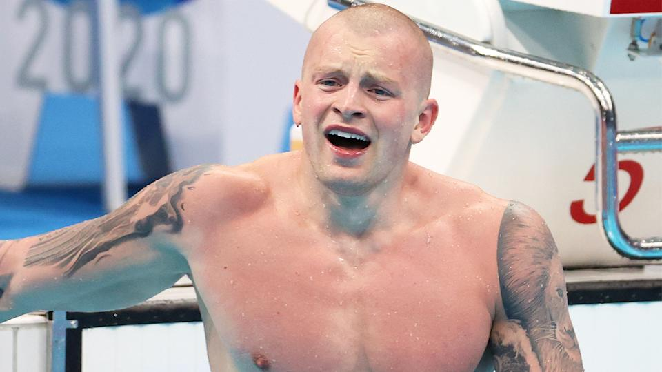 Adam Peaty (pictured) celebrating after winning gold at the Tokyo Olympics 100m breaststroke final.