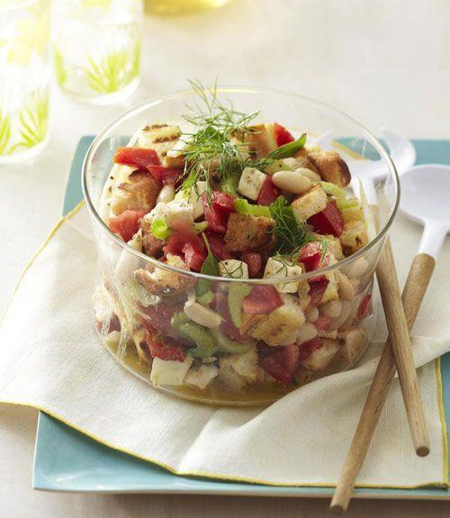 """<p>Tangy with a little crunch to it, this recipe is a healthy alternative to your typical mayonnaise-based coleslaw or potato salad.</p><p><a href=""""https://www.goodhousekeeping.com/food-recipes/a11064/white-bean-panzanella-salad-recipe-ghk0811/"""" rel=""""nofollow noopener"""" target=""""_blank"""" data-ylk=""""slk:Get the recipe for White Bean Panzanella Salad »"""" class=""""link rapid-noclick-resp""""><em>Get the recipe for White Bean Panzanella Salad »</em></a></p>"""