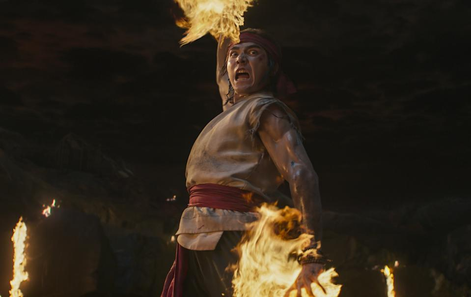 Ludi Lin is fireball-throwing Liu Kang in Mortal Kombat. (Still: Warner Bros.)
