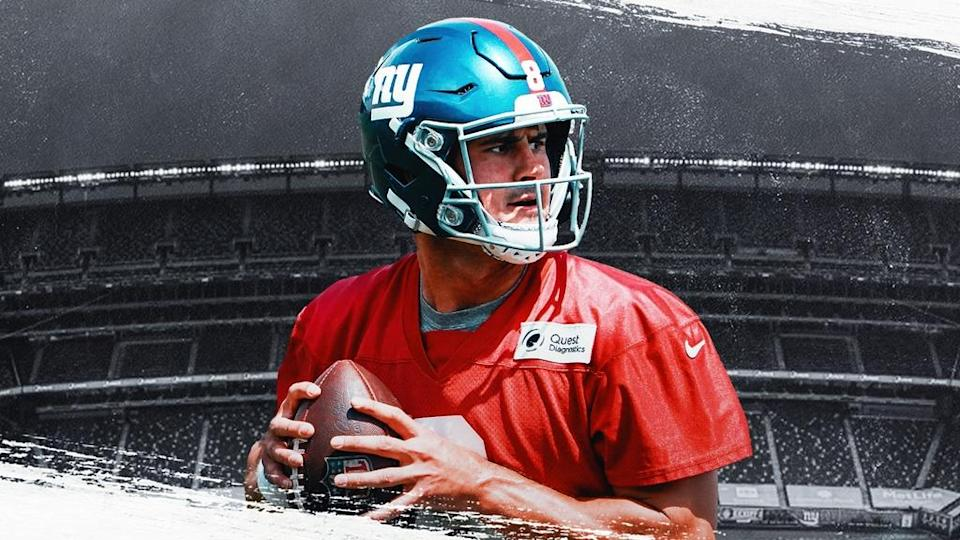 Daniel Jones Treated Image w/ red practice jersey and MetLife background