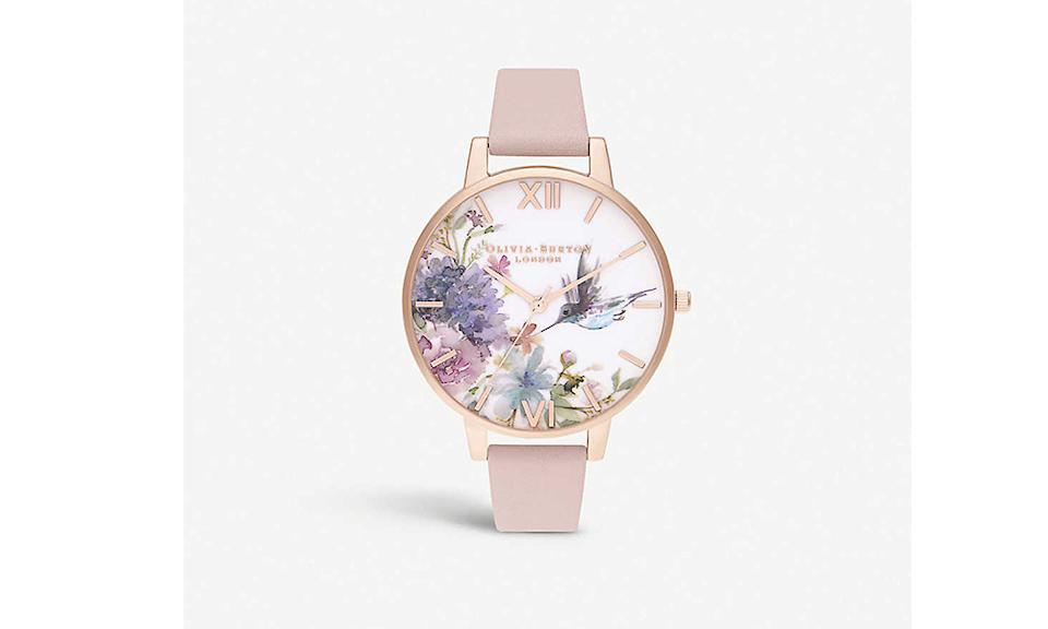 OLIVIA BURTON Painterly Prints stainless steel and leather watch