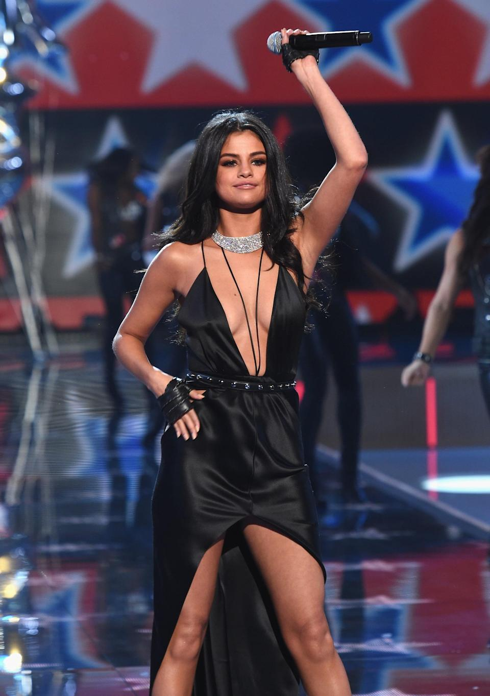 """<p>The singer outshone the models at the Victoria's Secret Fashion Show when she took the stage and delivered <a href=""""https://www.popsugar.com/latina/Selena-Gomez-Sang-Live-Victoria-Secret-Fashion-Show-39344686"""" class=""""link rapid-noclick-resp"""" rel=""""nofollow noopener"""" target=""""_blank"""" data-ylk=""""slk:an amazing performance of her hit songs"""">an amazing performance of her hit songs</a>, """"Can't Keep my Hands to Myself"""" and """"My Girls.""""</p>"""